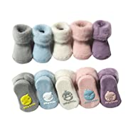 Eilin Unisex Baby Thick Cotton Socks 5 Pairs Non-skid Floor Sock for Newborn Toddlers (0-6 Months)
