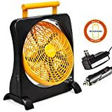 "10 inch battery operated fan - O2COOl 10"" Battery Operated Fan - Portable with AC Adapter & USB Charging Port for Emergencies, Camping & Travel Use (Orange)"