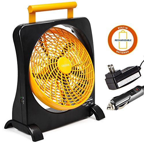"O2COOl 10"" Battery Operated Fan - Portable with AC Adapter & USB Charging Port for Emergencies, Camping & Travel Use (Orange)"