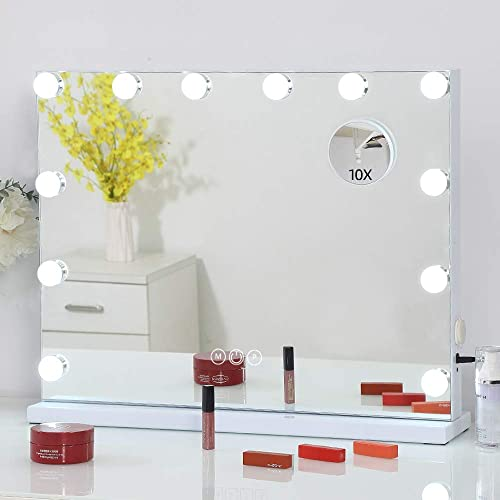 FENCHILIN Large Vanity Mirror with Lights Hollywood Lighted Makeup Mirror with 12 Dimmable LED Bulbs for Dressing Room Bedroom Tabletop or Wall-Mounted Slim Metal Frame Design White