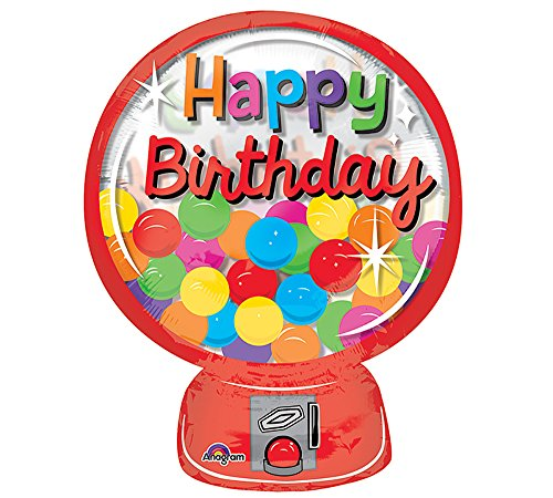Burton and Burton Birthday Balloon Hbd Gumball Machine ()