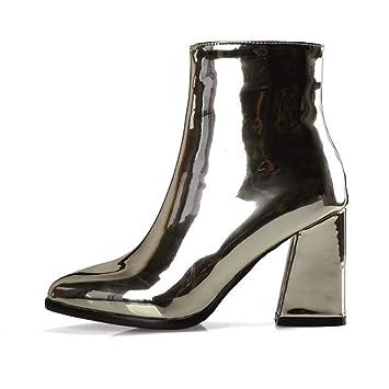 HN Boots Mujer Botines Tacones Bloque Negro Púrpura Plata Puntiagudo Charol Moda Otoño Invierno Mitad de la Pantorrilla Botas Zapatos Talla 35-42: ...