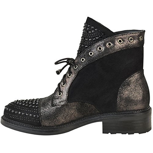 Fashion Thirsty Mujer con tachuelas Diamante Brillo Botines Bajos Punk Informal Talla Negro Ante Artificial