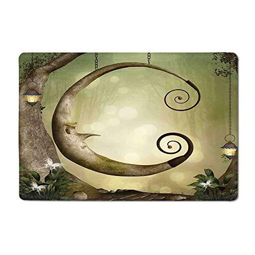 "Cartoon Yoga mat Forest Secret Swing Old Tree Curly Half Moon Shaped Lamps Butterflies Print Kitchen mat Khaki Pale Brown 16""x 24"""