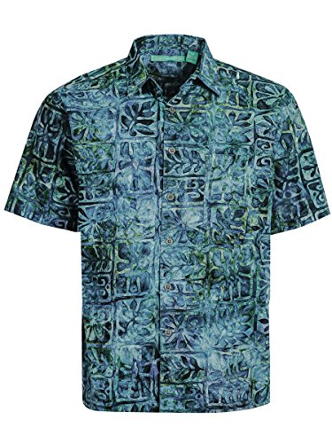 Artisan Outfitters Moonstone Batik Cotton Shirt (Deep Sea Blue, L) - Batik Apparel Blue