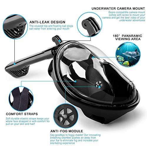 51Bs6v4harL - HOTINS Full Face Snorkel Mask 180°Panoramic View Foldable Tube Snorkeling Mask with Detachable Camera Mount Anti-Fog Anti-Leak Easybreath Scuba Gear for Youth & Adult Swimming Diving S/M
