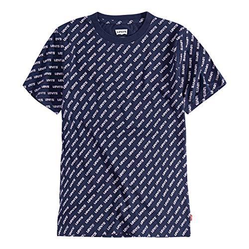 Levi's Boys' Little Basic Logo T-Shirt, Blue All Over Print, 5 ()
