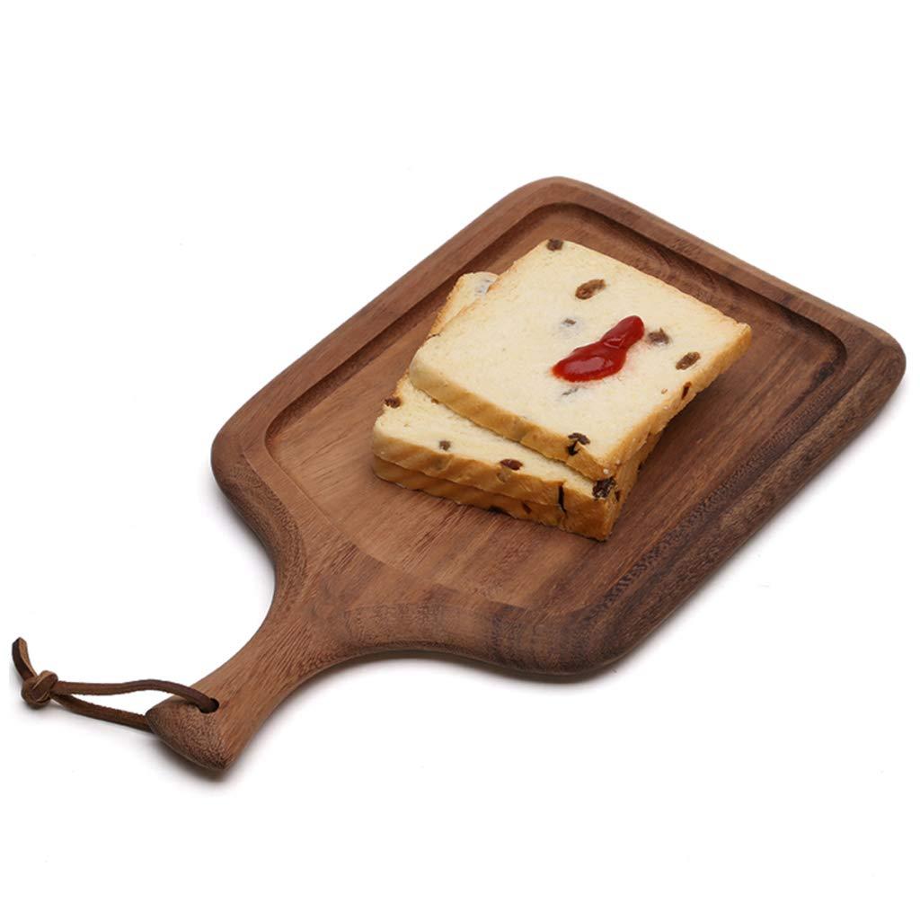 Rectángulo Pizza junta Con mango de madera, Vendimia Bandeja para servir Con cordón de cuero de Moldes para hornear pan Tabla de cortar Plato de embutidos ...