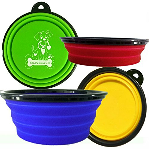Mr-Peanuts-Collapsible-Dog-Bowls-Set-of-4-Colors-Dishwasher-Safe-BPA-FREE-Food-Grade-Silicone-Portable-Pet-Bowls-Foldable-Travel-Bowls-for-Feed-Water-on-Journeys-Hiking-Kennels-Camping