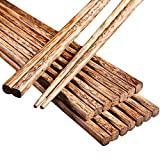 10 Pairs Chinese Wooden Chopsticks Dishwasher Safe of Chopsticks Set Reusable Cooking Weight Loss Natural Healthy Used for Family Hotel Restaurant Hot Pot Gourmet Noodles Chopstick 9.8 Inch