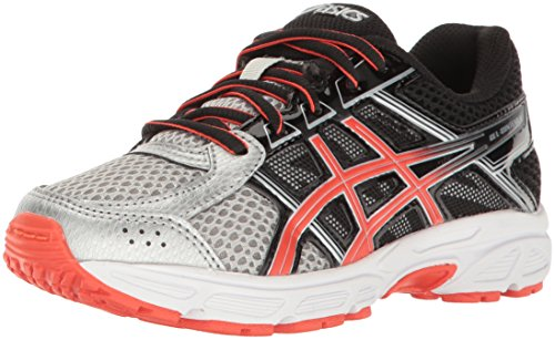 ASICS Unisex-Kids Gel-Contend 4 GS Running Shoe, Silver/Cherry Tomato/Black, 5 Medium US Big Kid