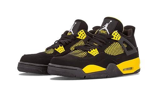 size 40 51861 124d3 Nike Air Jordan 4 Retro Thunder Nero White-Tour Giallo Pelle Scarpe  Ginnastica Taglia 10  Amazon.it  Scarpe e borse