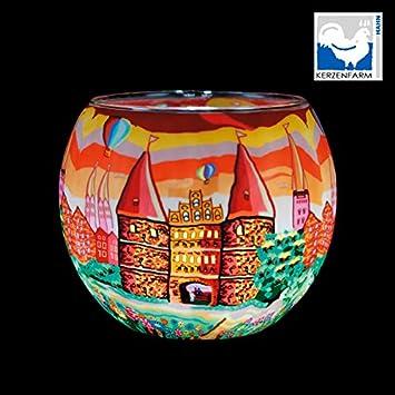 Leuchtglas 21640 Northern Light 11cm Kerzenhalter Teelicht Windlicht Kerzenfarm