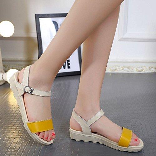 COOLCEPT Mujer Moda Al Tobillo Punta Abierta Sandalias Simple Slingback Zapatos for Chicas Amarillo