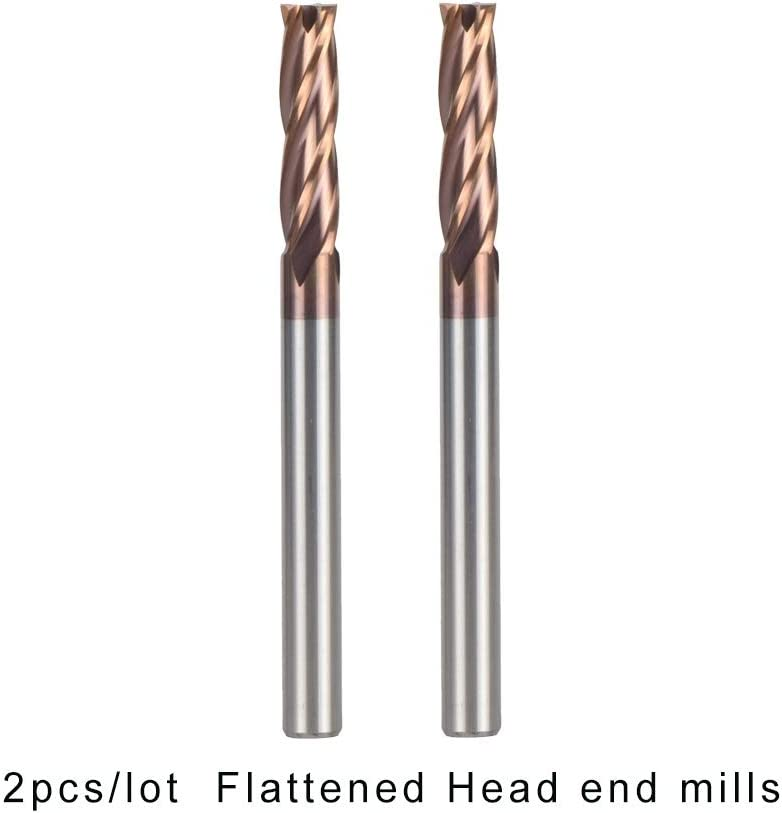 Size : 2PCS D2.5 4 50 2pcs//Pack 4 Flute Flattened Head Tungsten Steel End Mills HRC55 Coated H-Si CNC Milling Cutters Carbide End Mills Nologo HUHUI-PDXIDAO