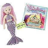 Girls Mermaid Doll RAIN Pink Hair w/Pinkalicious and Aqua, The Mini-Mermaid Book w/ Stickers & Gift Tag