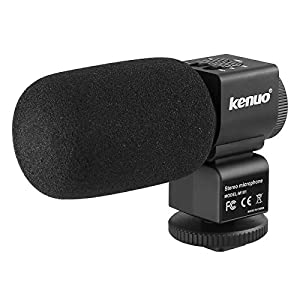 Kenuo Recording Camera Microphone for Canon Nikon Panasonic Sony Camera Camcorder and Other DSLR Cameras, DV Recorders