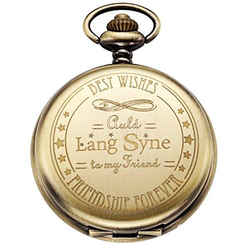 Engraved Vintage Mechanical Hand Wind Skeleton Pocket Watch for Men Gift Bronze Case