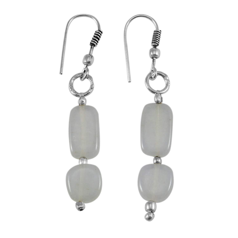 Silvestoo Jaipur Jewelry 925 Silver Plated White Quartz Dangle Earring PG-132521