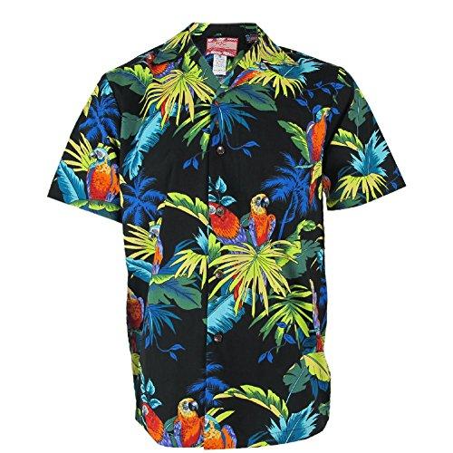 Mens-Clancey-Black-Parrot-Rockabilly-Authentic-Hawaiian-Shirt
