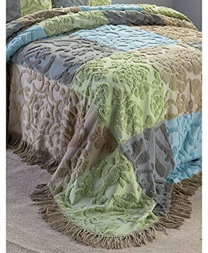 MattsGlobal Shop Chenille Design Patchwork Bedspreads or Shams - Cotton Imported - Gives Bedroom A Spring-Like Look (Hailey Full/Queen Bedspread)