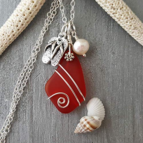 Hawaiian and island lifestyle flip-flops charm with Ruby red wire wrapped sea glass necklace,