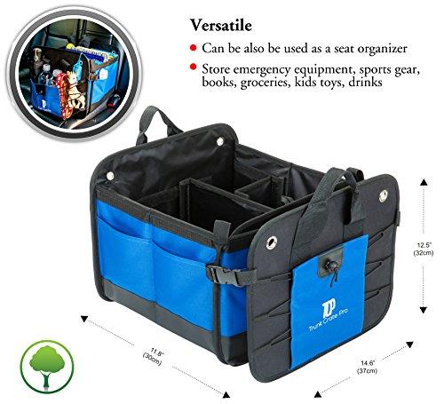 TrunkCratePro Premium Multi Compartments Collapsible Portable Trunk Organizer For Auto SUV Truck Minivan
