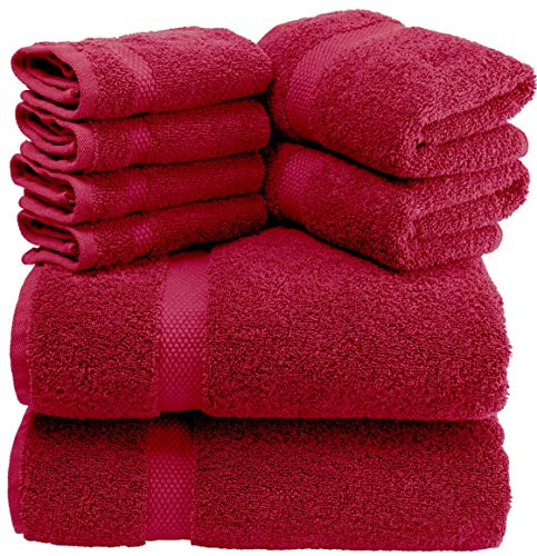 White Classic Luxury Burgundy Bath Towel Set - Combed Cotton Hotel Quality Absorbent 8 Piece Towels | 2 Bath Towels | 2 Hand Towels | 4 Washcloths [Worth $72.95] 8 Pack | Burgundy