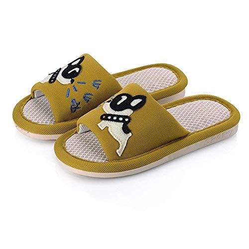 Kids Toe Flax Puppy Comfort Outdoor Boys for Slippers Open Slides 4 Yellow Girls Indoor prgTwpq