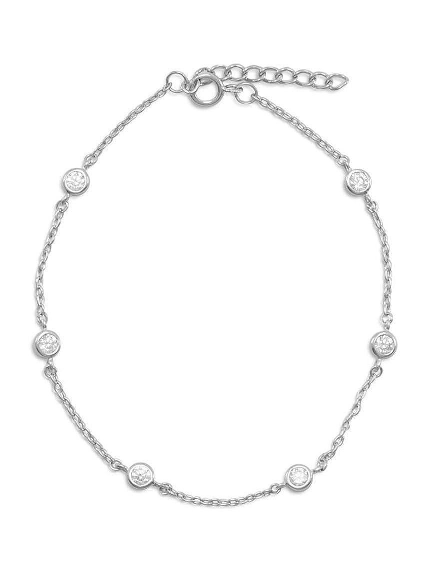 79eb9ed5fb691 Amazon.com: Cubic Zirconia CZ Bezel Set 6-stone Bracelet Rhodium ...