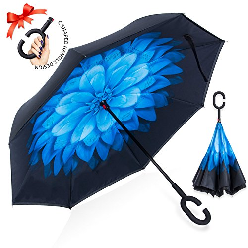 ZOMAKE Double Layer Inverted Umbrella Cars Reverse Umbrella, UV Protection Windproof Large Straight Umbrella for Car Rain Outdoor With C-Shaped Handle (Daisies Raining)