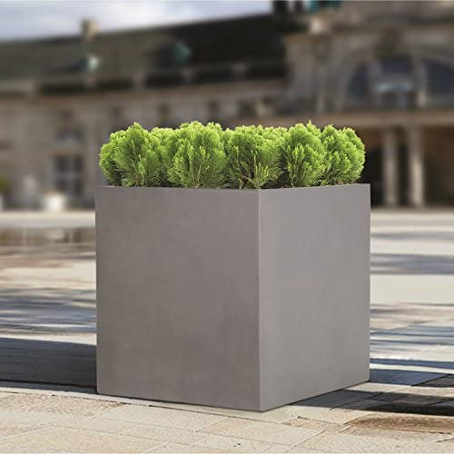 Large Plant Flower Pot Plastic Planter Outdoor Indoor Cube Square Garden Box PU