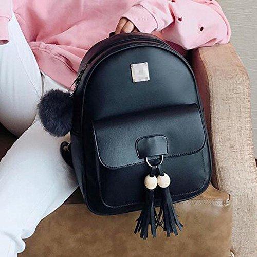 Casual Pack Black Cuir Femmes Noir PU En Sac Tassel à 3 Dos Schoolbag Daypack xWfznUwqWR