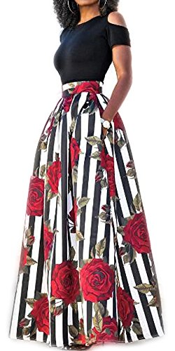 lexiart 2 Piece Dresses Vintage Flared Flowy 2018 Spring Summer Red Black (Cocktail Cruise Dress)
