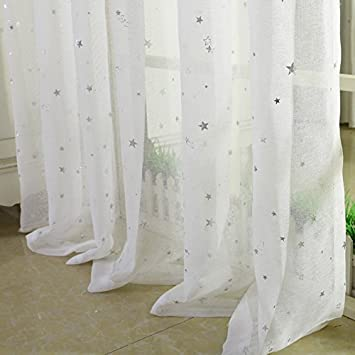 Kinderzimmer Vorhänge | Amazon De 2er Set Sterne Vorhange Fur Kinder Kinderzimmer Tull
