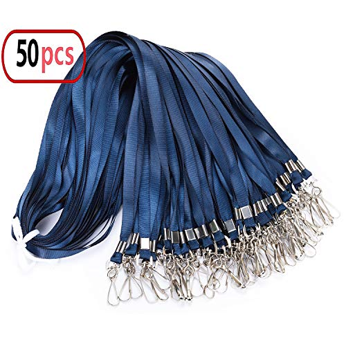 Navy Blue Lanyard Bulk Clip Swivel Hooks Nylon Neck Flat Lanyard with Clips Durably Woven Navy Blue Badge Lanyards with Clip Navy Blue Lanyards for Id Badges,Lanyard Swivel Hooks 50 Pack 17.5-inch