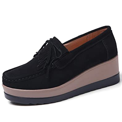 d6c06a95beaf STQ-DH8730heise36 Platform Loafers Shoes for Women Comfort Wedge Suede Wide  Work Moccasin Sneakers Black