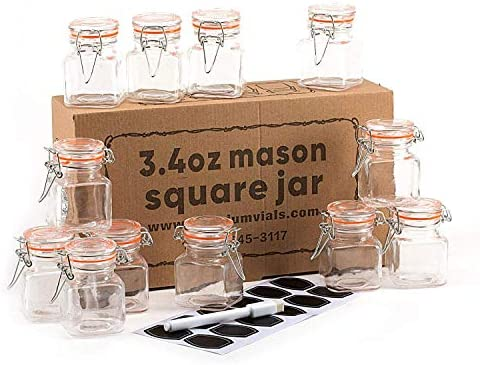 12 Pack - 3.4 Ounce Mini Square Glass Spice Jar with Orange Flip-Top Gasket, Airtight Clear Storage Jars, with REUSABLE labels and Pen by Premium Vials