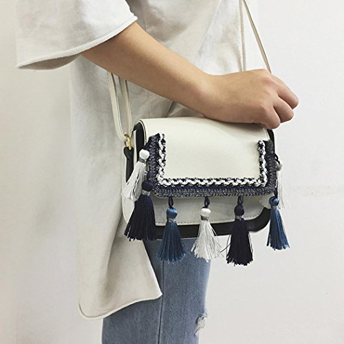 Tassel Shoulder Women Voberry Retro Handbag Bag White Bag Crossbody Girls q6wnRHnP