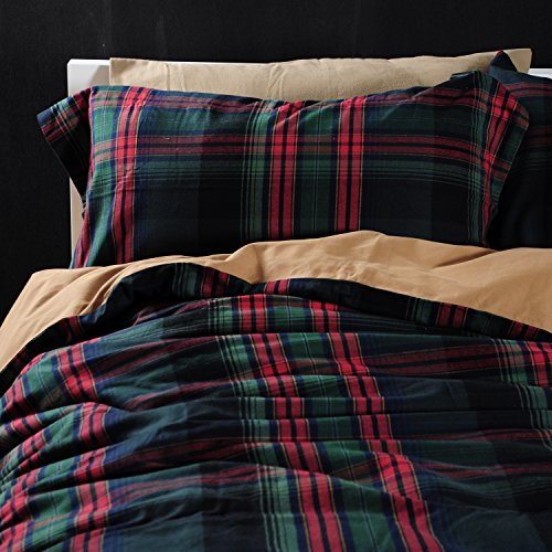 UFO Home 300 Thread Count Yarn-dyed Cotton Flannel Soft Hand Feeling Tartan Plaid 4pc Duvet Cover Set Color Dark Green Red Full/Queen Size (Sheets Flannel Tartan)