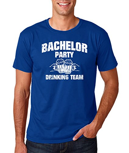 Funnwear Wedding Eve Party - Bachelor Party Drinking Team, 100% Prime Cotton With Unique Design, Funny Stag Gift Shirt, Tying The Knot, Funny Groom Premium Men's T-Shirt (X-Large, Royal Blue) ()