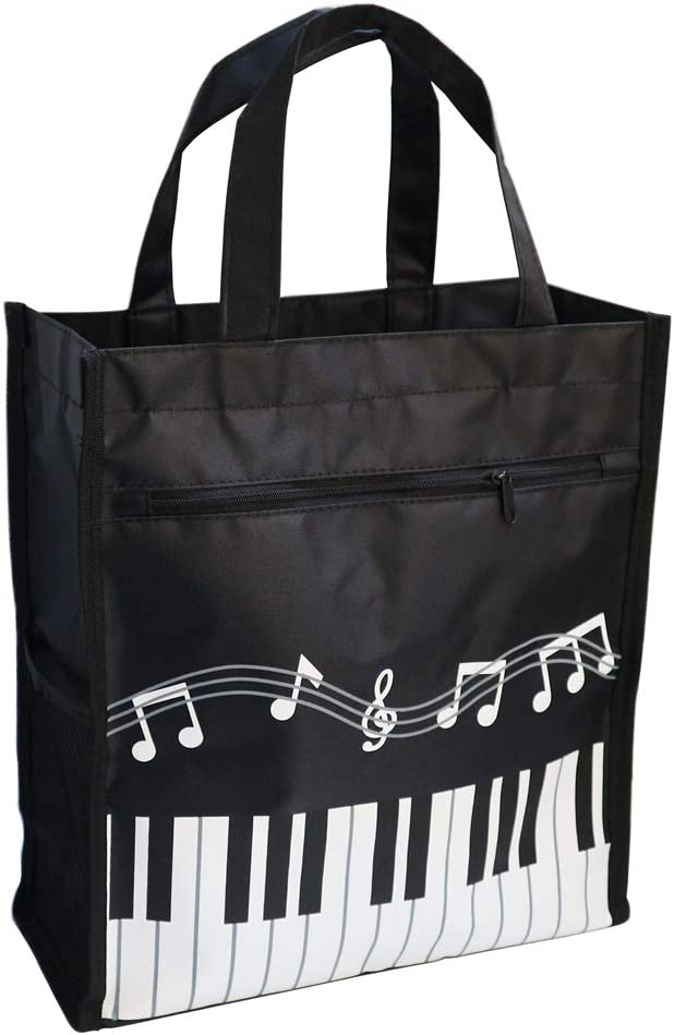 Music Bag Handbag Waterproof Oxford Cloth Music Clef Piano Key Pattern For Learning Shopping Trave