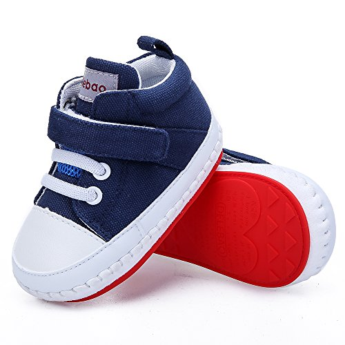 Delebao Baby Non-Slip First Walking Shoes Rubber Sole Sneaker Navy 6-9 Months