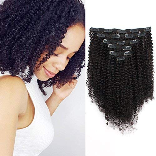 ABH AmazingBeauty 8A Grade 3C 4A Double Wefted Thick Big Afro Kinkys Curly Hair Extensions Clip in for African American Black Women, Natural Black, 120 Gram, 12 Inch