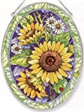 Amia Oval Suncatcher with Sunflower Design, Hand Painted Glass, 6-1/2-Inch by 9-Inch