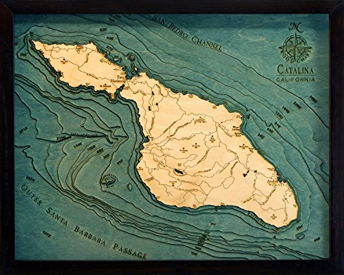 Catalina Island, California 3-D Nautical Wood Chart, 16