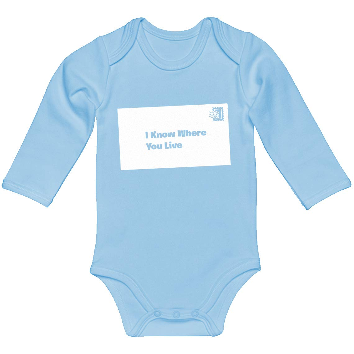 Indica Plateau Baby Romper I Know Where You Live 100/% Cotton Long Sleeve Infant Bodysuit
