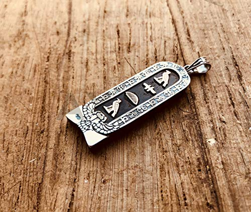 Egyptian Dark Ebony Winged Scarab Sterling Silver Cartouche Charm Pendant In Hieroglyphics or Arabic Or English - Made By AYALZ - Up to (7 Characters) ()