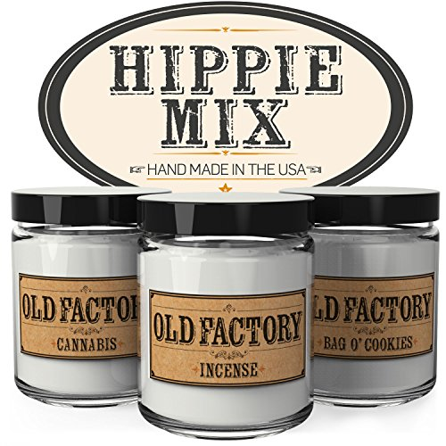 Scented Candles - Hippie Mix - Set of 3: Cannabis, Incense, and Bag O Cookies - 3 x 4-Ounce Soy Candles - Each Votive Candle is Handmade in the USA - Glasses For Sale Hippie