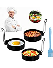 Egg Rings, Egg Mold Stainless Steel Non-Stick Round for Frying Or Shaping Eggs Pancakes Mcmuffins (3 PCS With 1 Silicone Oil Brush)